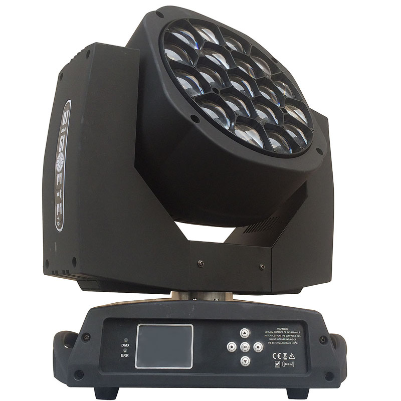 19x15w 4in1 bee eye zoom wash moving head led